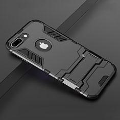 Apple iPhone 8 Plus用ハイブリットバンパーケース スタンド プラスチック 兼シリコーン カバー アップル ブラック