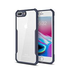Apple iPhone 8 Plus用ハイブリットバンパーケース クリア透明 プラスチック 鏡面 カバー P01 アップル ネイビー