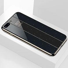 Apple iPhone 8 Plus用ハイブリットバンパーケース プラスチック 鏡面 カバー M01 アップル ブラック