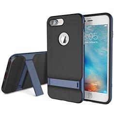 Apple iPhone 8 Plus用ハイブリットバンパーケース スタンド プラスチック 兼シリコーン カバー A01 アップル ネイビー