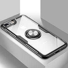 Apple iPhone 8 Plus用極薄ソフトケース シリコンケース 耐衝撃 全面保護 クリア透明 スタンド S01 アップル ブラック