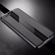Apple iPhone 8 Plus用シリコンケース ソフトタッチラバー レザー柄 S04 アップル ブラック