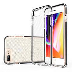 Apple iPhone 8 Plus用極薄ソフトケース シリコンケース 耐衝撃 全面保護 クリア透明 HT01 アップル ブラック