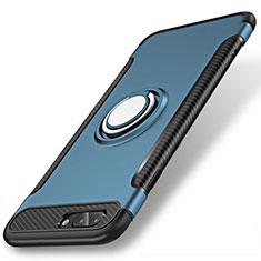 Apple iPhone 8 Plus用ハイブリットバンパーケース プラスチック アンド指輪 兼シリコーン カバー S01 アップル ネイビー