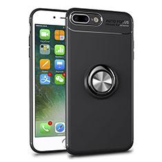 Apple iPhone 8 Plus用極薄ソフトケース シリコンケース 耐衝撃 全面保護 クリア透明 アンド指輪 マグネット式 S01 アップル ブラック