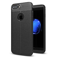 Apple iPhone 8 Plus用シリコンケース ソフトタッチラバー レザー柄 S05 アップル ブラック