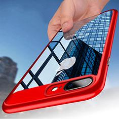Apple iPhone 8 Plus用ハイブリットバンパーケース クリア透明 プラスチック B01 アップル レッド