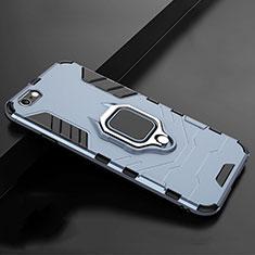 Apple iPhone SE (2020)用ハイブリットバンパーケース スタンド プラスチック 兼シリコーン カバー アップル ネイビー