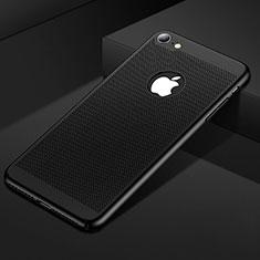Apple iPhone SE (2020)用ハードケース プラスチック メッシュ デザイン カバー アップル ブラック