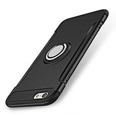 Apple iPhone SE (2020)用ハイブリットバンパーケース プラスチック アンド指輪 兼シリコーン カバー S01 アップル ブラック