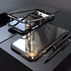 Apple iPhone SE (2020)用ケース 高級感 手触り良い アルミメタル 製の金属製 360度 フルカバーバンパー 鏡面 カバー M01 アップル ブラック