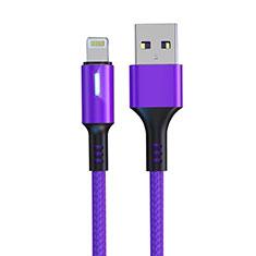 Apple iPhone SE用USBケーブル 充電ケーブル D21 アップル パープル
