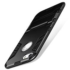 Apple iPhone SE用ハイブリットバンパーケース スタンド プラスチック アップル ブラック