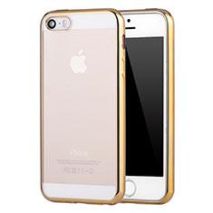 Apple iPhone SE用極薄ソフトケース シリコンケース 耐衝撃 全面保護 クリア透明 H05 アップル ゴールド