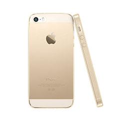 Apple iPhone SE用極薄ソフトケース シリコンケース 耐衝撃 全面保護 クリア透明 アップル ゴールド