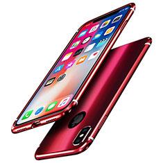 Apple iPhone X用ケース 高級感 手触り良い アルミメタル 製の金属製 バンパー 鏡面 カバー A01 アップル レッド