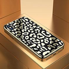 Apple iPhone X用ハイブリットバンパーケース プラスチック パターン 鏡面 カバー アップル ブラック