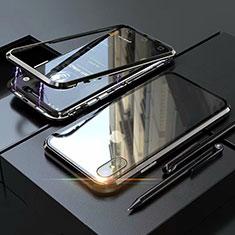 Apple iPhone X用ケース 高級感 手触り良い アルミメタル 製の金属製 360度 フルカバーバンパー 鏡面 カバー M02 アップル ブラック