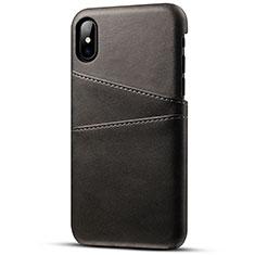 Apple iPhone X用ケース 高級感 手触り良いレザー柄 S06 アップル ブラック
