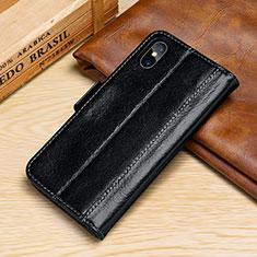 Apple iPhone X用手帳型 レザーケース スタンド カバー P05 アップル ブラック