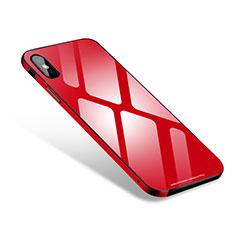 Apple iPhone X用ケース 高級感 手触り良い アルミメタル 製の金属製 バンパー 鏡面 カバー S01 アップル レッド