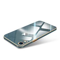 Apple iPhone XR用ハイブリットバンパーケース クリア透明 高級感 プラスチック 鏡面 カバー アップル モスグリー
