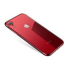 Apple iPhone XR用極薄ソフトケース シリコンケース 耐衝撃 全面保護 クリア透明 H01 アップル レッド