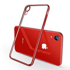 Apple iPhone XR用極薄ソフトケース シリコンケース 耐衝撃 全面保護 クリア透明 H02 アップル レッド