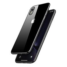 Apple iPhone XR用極薄ソフトケース シリコンケース 耐衝撃 全面保護 クリア透明 T15 アップル ブラック