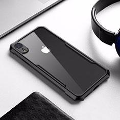 Apple iPhone XR用ハイブリットバンパーケース クリア透明 プラスチック 鏡面 アップル ブラック