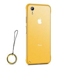 Apple iPhone XR用極薄ソフトケース シリコンケース 耐衝撃 全面保護 クリア透明 HT01 アップル ゴールド
