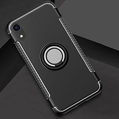 Apple iPhone XR用ハイブリットバンパーケース プラスチック アンド指輪 兼シリコーン カバー S01 アップル ブラック
