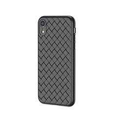 Apple iPhone XR用シリコンケース ソフトタッチラバー レザー柄 S05 アップル ブラック