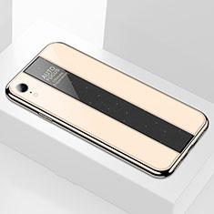 Apple iPhone XR用ハイブリットバンパーケース プラスチック 鏡面 カバー アップル ゴールド