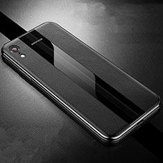 Apple iPhone XR用シリコンケース ソフトタッチラバー レザー柄 S06 アップル ブラック