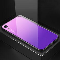 Apple iPhone XR用ハイブリットバンパーケース プラスチック 鏡面 虹 グラデーション 勾配色 カバー A01 アップル パープル