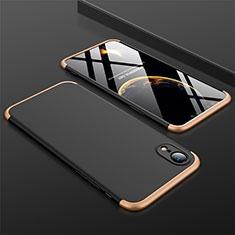 Apple iPhone XR用ハードケース プラスチック 質感もマット 前面と背面 360度 フルカバー アップル ゴールド・ブラック
