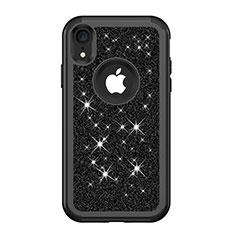 Apple iPhone XR用ハイブリットバンパーケース ブリンブリン カバー 前面と背面 360度 フル アップル ブラック