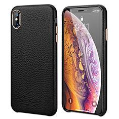 Apple iPhone XR用ケース 高級感 手触り良いレザー柄 アップル ブラック