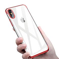 Apple iPhone Xs用極薄ソフトケース シリコンケース 耐衝撃 全面保護 クリア透明 C16 アップル レッド