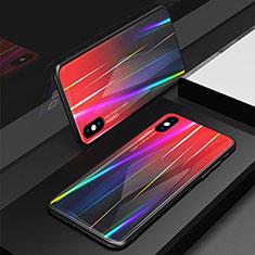 Apple iPhone Xs用ハイブリットバンパーケース プラスチック 鏡面 虹 グラデーション 勾配色 カバー アップル レッド