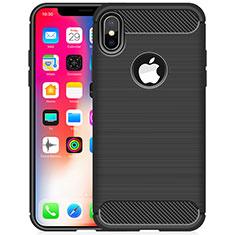 Apple iPhone Xs用シリコンケース ソフトタッチラバー ライン カバー アップル ブラック