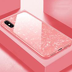 Apple iPhone Xs用ハイブリットバンパーケース プラスチック 鏡面 カバー アップル ローズゴールド