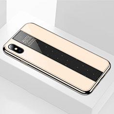 Apple iPhone Xs用ハイブリットバンパーケース プラスチック 鏡面 カバー M01 アップル ゴールド