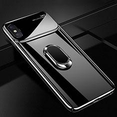 Apple iPhone Xs用ハードケース プラスチック 質感もマット アンド指輪 マグネット式 A01 アップル ブラック