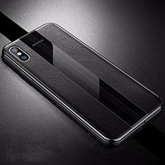 Apple iPhone Xs用シリコンケース ソフトタッチラバー レザー柄 S06 アップル ブラック