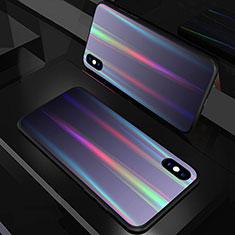 Apple iPhone Xs用ハイブリットバンパーケース プラスチック 鏡面 虹 グラデーション 勾配色 カバー A01 アップル ブラック