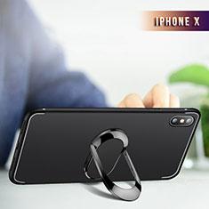 Apple iPhone Xs Max用極薄ソフトケース シリコンケース 耐衝撃 全面保護 クリア透明 アンド指輪 R01 アップル ブラック