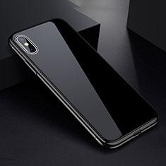 Apple iPhone Xs Max用ケース 高級感 手触り良い アルミメタル 製の金属製 360度 フルカバーバンパー 鏡面 カバー アップル ブラック