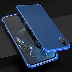 Apple iPhone Xs Max用ケース 高級感 手触り良い アルミメタル 製の金属製 カバー アップル ネイビー